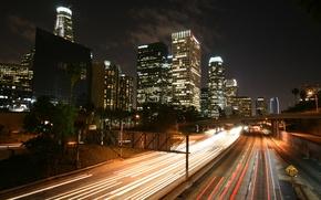Картинка ночь, здания, шоссе