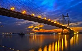 Картинка мост, огни, река, вечер, Индия, зарево, Западная Бенгалия, Ганг, Калькутта, Hooghly Bridge
