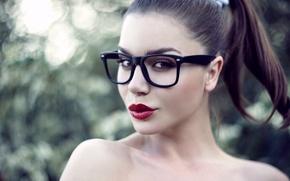 Картинка взгляд, девушка, лицо, модель, очки, губы, шатенка, оправа, Настя, Пантелеева