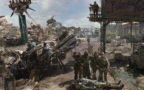 Обои база, свалка, метал, бочки, Fallout 3, Paradise Falls