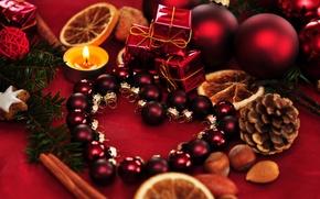 Картинка шарики, праздник, шары, игрушки, новый год, ель, свечи, ёлка, декорации, шишки, happy new year, christmas …