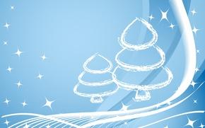 Обои елка, новый год, синий, линии