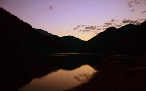Картинка закат, ночь, озеро, вечер, Рица
