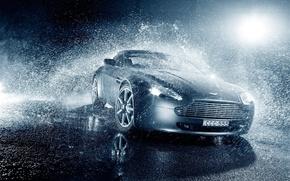 Картинка Vantage, Light, Aston, Martin, Water, Rain