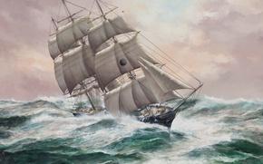 Картинка волны, океан, рисунок, парусник, паруса, большие, мачты, такелаж, 'New York', John Bentham-Dinsdale
