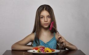 Картинка цветы, девочка, вегетарианка