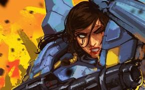Картинка девушка, пушка, броня, blizzard, art, overwatch, pharah
