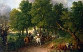 Картинка дорога, деревья, пейзаж, люди, корова, картина, лошади, Road from Market, Thomas Gainsborough