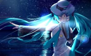 Картинка небо, девушка, звезды, ночь, океан, луна, шляпа, аниме, арт, vocaloid, hatsune miku