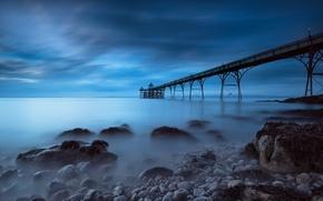 Картинка море, вечер, ночь, пирс, камни, выдержка