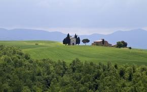 Картинка поле, деревья, горы, Италия, постройки, Italy, Тоскана, Tuscany