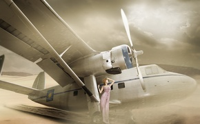 Картинка девушка, азиатка, самолёт
