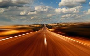 Картинка дорога, небо, облака, скорость, даль