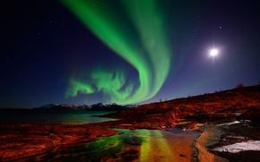 Картинка небо, острова, звезды, горы, ночь, луна, северное сияние, Норвегия