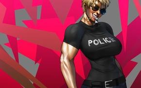 Картинка грудь, девушка, полиция, арт, очки, police, anime, жетоны, мускулы, naomi anderson