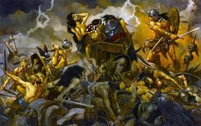 Картинка оружие, тела, битва, сражение, воины, мышцы, варвар, Конан, Conan the Barbarian
