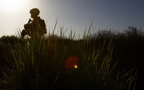 Обои оружие, soldier, трава, солдат