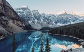 Картинка лес, снег, горы, природа, озеро, Канада