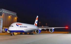 Картинка Lights, Небо, Airbus, A380, Огни, Night, Ночь, British Airways, Airport, Sky, Аэропорт