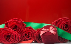 Картинка розы, букет, красные, red, flowers, romantic, коробочка, roses
