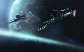 Картинка корабль, spaceship, фантастика, планета, космос, art