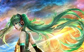 Картинка девушка, волосы, наушники, арт, vocaloid, miku, miku hatsune