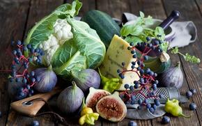 Картинка осень, ягоды, еда, сыр, черника, виноград, овощи, инжир