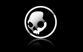 Картинка Минимализм, Череп, Лого, Black, Minimalism, Skullcandy