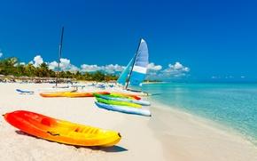 Картинка песок, море, пляж, лодки, summer, beach, sea, sand, vacation