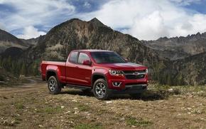 Картинка джип, красный, 2015, Colorado, пикап, шевроле, Extended Cab, Chevrolet, Z71, Trail Boss, колорадо