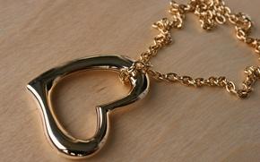Картинка золото, сердце, кулон, цепочка, сердечко, подвеска