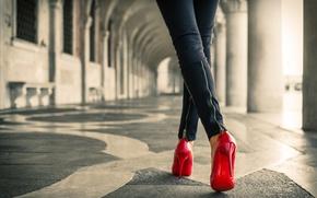 Обои heels, floor, female, red