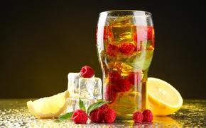 Картинка лед, стакан, малина, лимон, еда, напиток
