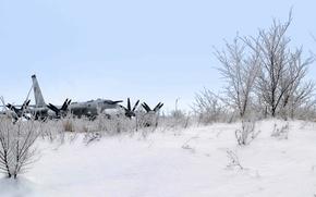 Картинка зима, снег, самолет, ракетоносец, стратегический бомбардировщик, ту-95мс