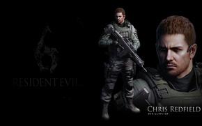 Картинка черный фон, Обитель зла, Resident Evil 6, Chris Redfield, Крис Редфилд