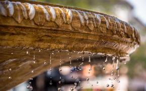 Картинка вода, капли, макро, брызги, фонтан
