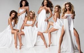 Картинка fashion, legs, pose, makeup, ladies, white cloth, covered bodies