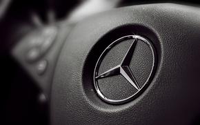 Картинка знак, черный, панель, логотип, руль, кнопки, мерседес