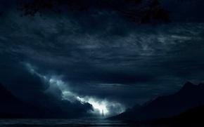 Обои море, фантазия, ночь, парусник