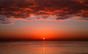 Обои море, солнце, кровавый, красное, закат