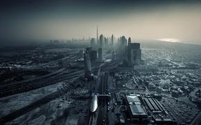Обои закат, city, город, здания, дороги, небоскребы, Дубай, Dubai, мегаполис, sunset, ОАЭ, Эмираты