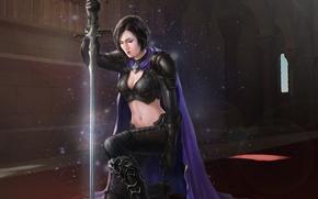 Картинка девушка, замок, меч, воин, арт, искры, плащ, Yuxiang Luo