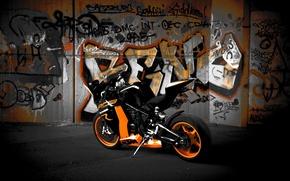 Картинка чёрный, мотоцикл, black, вид сзади, bike, ktm, rc8 r