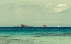 Обои море, волны, острова, яхта, горизонт, парус, небо. облака