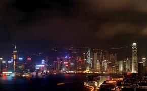Картинка city, sky, night, hong kong