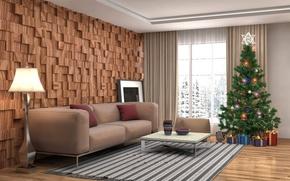 Обои шарики, комната, диван, игрушки, лампа, интерьер, ковёр, подушки, чашка, подарки, Новый год, ваза, ёлка, гирлянда, ...