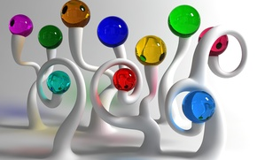 Картинка стекло, шары, разноцветное