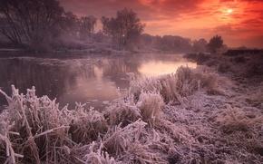 Обои Великобритания, осень, иней, солнце, река, закат