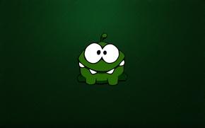 Обои зеленый, green, монстр, монстрик, monster, глазастый, чудик, зубастый, Cut the Rope