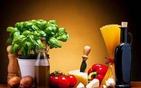 Обои листья, вино, сыр, перец, кувшин, овощи, помидоры, спагетти, wine, tomatoes, cheese, макароны, pepper, базилик, pasta